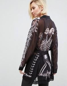 Кимоно с принтом костей Religion Salvation - Черный
