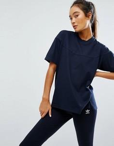 Темно-синяя прямая футболка adidas XByO - Синий