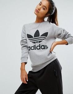 Серый свитшот бойфренда с логотипом-трилистником adidas Originals - Серый