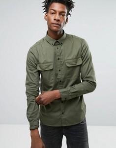 Рубашка классического кроя в стиле милитари Casual Friday - Зеленый