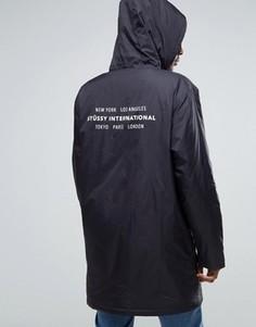 Тренерская куртка с капюшоном и принтом сзади Stussy - Черный