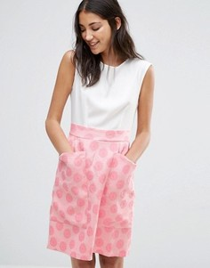 Контрастное жаккардовое платье с большими карманами Closet - Мульти