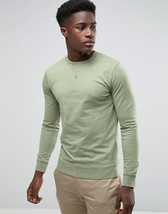 Свитшот цвета хаки с круглым вырезом Troy - Зеленый