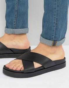Черные кожаные сандалии с перекрестными ремешками ASOS - Черный