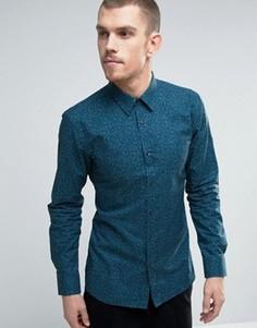 Синяя узкая рубашка с цветочным принтом HUGO by Hugo Boss Elisha - Синий