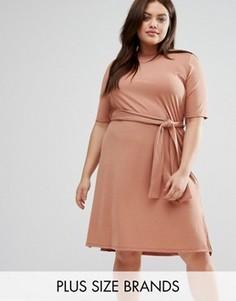 Платье миди в рубчик с разрезами по бокам Pink Clove Plus - Бежевый