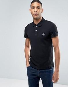 Узкая футболка-поло с короткими рукавами United Colors of Benetton - Черный