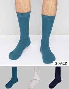 3 пары синих толстых носков в рубчик ASOS - Синий