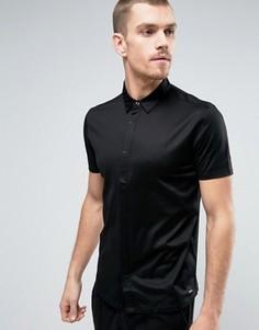 Черная рубашка из шелковистого трикотажа с короткими рукавами HUGO by Hugo Boss Daltos - Черный
