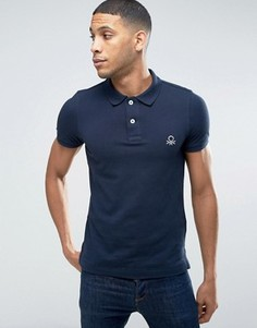Узкая футболка-поло с короткими рукавами United Colors of Benetton - Темно-синий