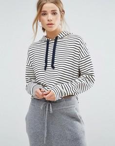 Укороченное худи в полоску New Look - Белый