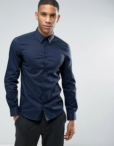 Эластичная приталенная рубашка United Colors of Benetton - Темно-синий