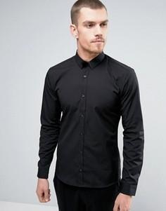 Узкая черная рубашка с металлической отделкой на воротнике HUGO by Hugo Boss Ero 3 - Черный
