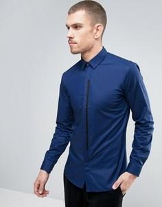 Синяя узкая рубашка с контрастной планкой HUGO by Hugo Boss Emac - Синий