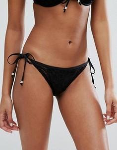 Плавки бикини с кроше и завязками по бокам Pour Moi - Черный