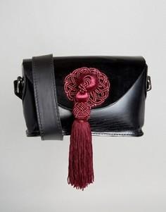 Кожаная сумка через плечо с контрастной кисточкой Park Lane - Черный