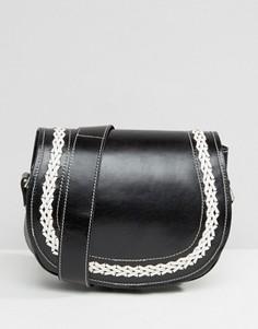 Кожаная сумка через плечо с контрастной строчкой Park Lane - Черный