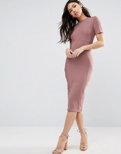 Облегающее платье миди в рубчик ASOS - Розовый