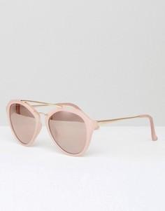 Розовые солнцезащитные очки кошачий глаз с золотистой планкой над переносицей Southbeach - Розовый