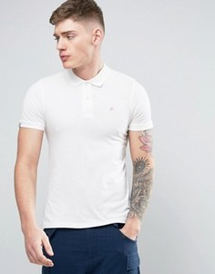 Футболка-поло с вышивкой логотипа на груди Jack & Jones Originals - Белый