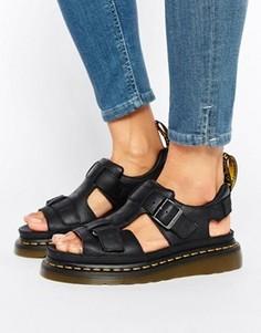 Черные кожаные сандалии с T-образными ремешками Dr Martens Hayden Grunge - Черный