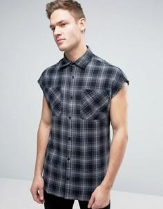 Oversize-рубашка без рукавов в клетку Jack & Jones Originals - Черный