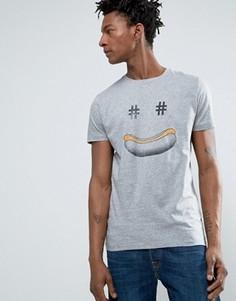 Серая меланжевая футболка классического кроя с хот-догом BOSS Orange by Hugo Boss - Серый