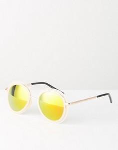 Круглые солнцезащитные очки с золотистыми стеклами 7X - Кремовый