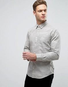 Узкая оксфордская рубашка с воротником на пуговицах и цветочным принтом Esprit - Белый