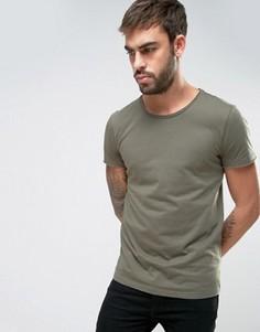 Зеленая футболка классического кроя с необработанным краем BOSS Orange by Hugo Boss - Зеленый