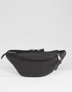 Черная кожаная сумка-кошелек на пояс Eastpak - Черный