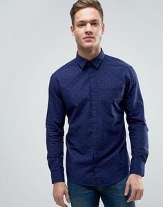 Рубашка слим с цветочным принтом Esprit - Темно-синий