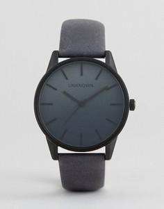 Часы с темно-синим кожаным ремешком UNKNOWN - Черный