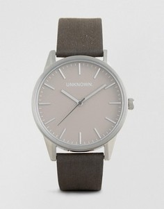 Часы с серым кожаным ремешком UNKNOWN - Серый