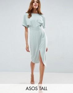 Тканое платье миди с V-образным вырезом сзади ASOS TALL - Зеленый