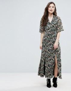 Платье макси с запахом и разрезами спереди Influence - Мульти