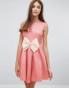 Жаккардовое платье с бантом Madam Rage - Розовый