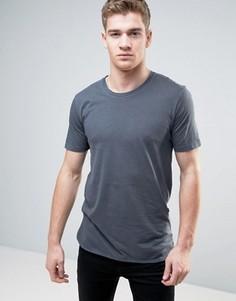 Удлиненная футболка из органического хлопка с асимметричным краем Only & Sons - Серый