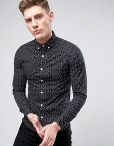 Узкая рубашка с принтом Only & Sons - Черный