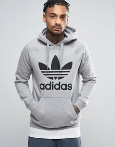 Серое худи с логотипом-трилистником adidas Originals BK5880 - Серый