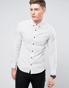 Узкая рубашка с принтом Only & Sons - Белый