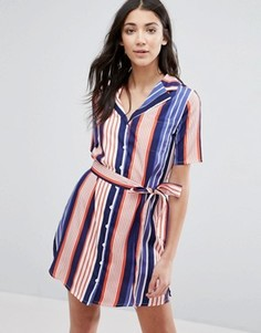 Полосатое платье-рубашка с воротником в виде лацканов Influence - Мульти