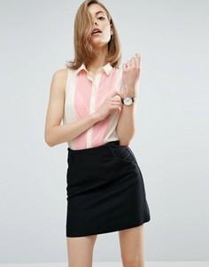 Блузка в стиле колор блок без рукавов ASOS - Белый