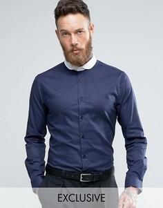 Зауженная рубашка с контрастным воротником Heart & Dagger - Темно-синий