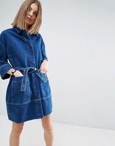 Джинсовое платье-рубашка с поясом ASOS WHITE - Синий
