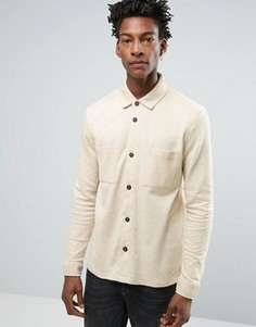 Рубашка классического кроя из хлопкового трикотажа Selected Homme - Бежевый