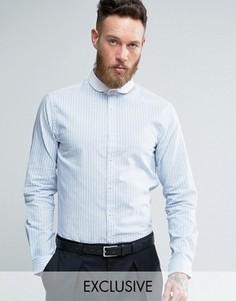 Зауженная рубашка с контрастным воротником Heart & Dagger - Синий