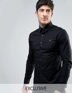 Черная поплиновая рубашка скинни эксклюзивно для Farah - Черный