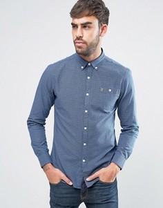 Узкая темно-синяя рубашка на пуговицах в клеточку Farah Webber - Темно-синий
