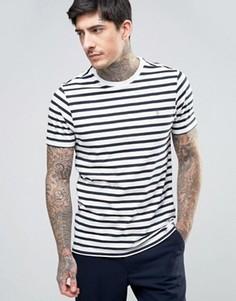 Сине-белая футболка узкого кроя в бретонскую полоску Farah Lennox - Белый